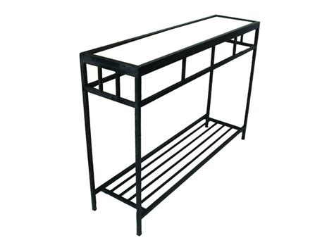 black iron and glass console table metal console table black iron