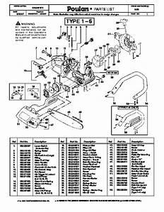 Poulan 1950 Chainsaw Parts List  2007