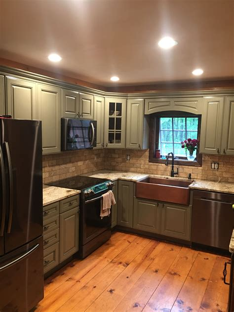 Backsplash Ideas With Cabinets by Copper Farmhouse Sink Travertine Backsplash Green