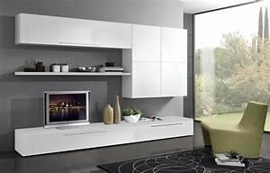 Meuble Blanc Pas Cher : meuble tele moderne pas cher meuble tv prix maisonjoffrois ~ Dailycaller-alerts.com Idées de Décoration