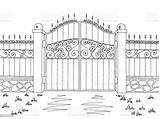 Gate Fence Sketch Landscape Graphic Boundary Door Architecture Doorway Entrance sketch template