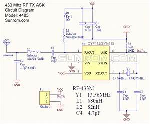 Rf Transmitter  433 Mhz  Ask  Crystal Stable  4485    Sunrom Electronics
