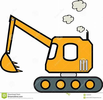 Digger Excavator Clipart Backhoe Drawing Simple Truck