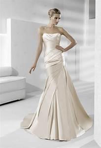 sleek strapless silk wedding dress in champagne onewedcom With sleek wedding dresses