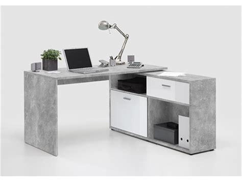 bureau meuble informatique bureau d 39 angle diego 1 béton blanc brillant