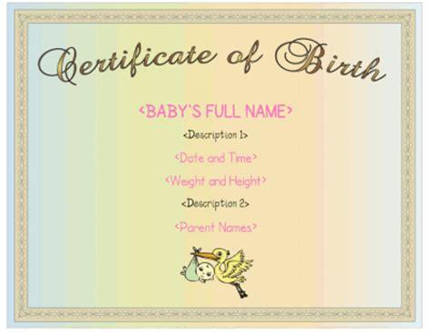 female birth certificate template