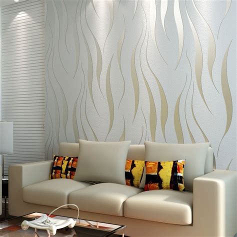 Contemporary Living Room Wallpaper by 10m Roll Modern Wallpaper Style Beige White Beige White