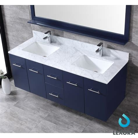 amelie  double vanity navy blue white carrera marble