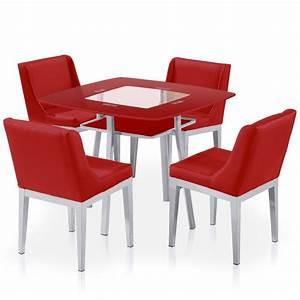 Table De Cuisine Et Chaises : table carr e en verre rouge et 4 chaises domu ~ Teatrodelosmanantiales.com Idées de Décoration