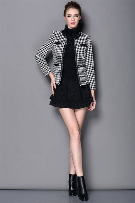 women s fashion houndstooth cropped jacket with zipper