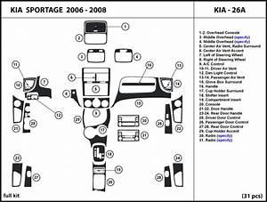 Dash Kit Trim For Kia Sportage 2006 2007 2008 Wood