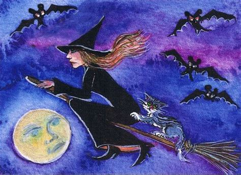 aceo hand enhanced painted gold limited print witch cat