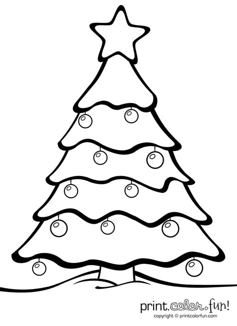 christmas ornament tree to color tree with ornaments coloring page print color