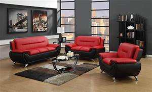 Red and black living room set leather living room sets for Living room furniture sets rockford il