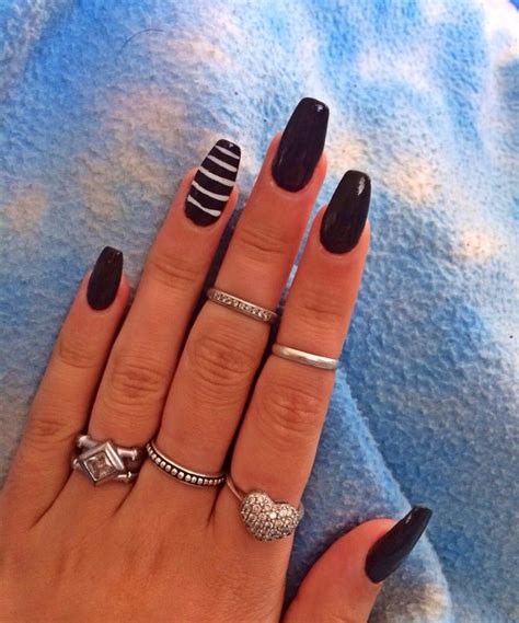 coffin shape dark greyblack long nails  accent
