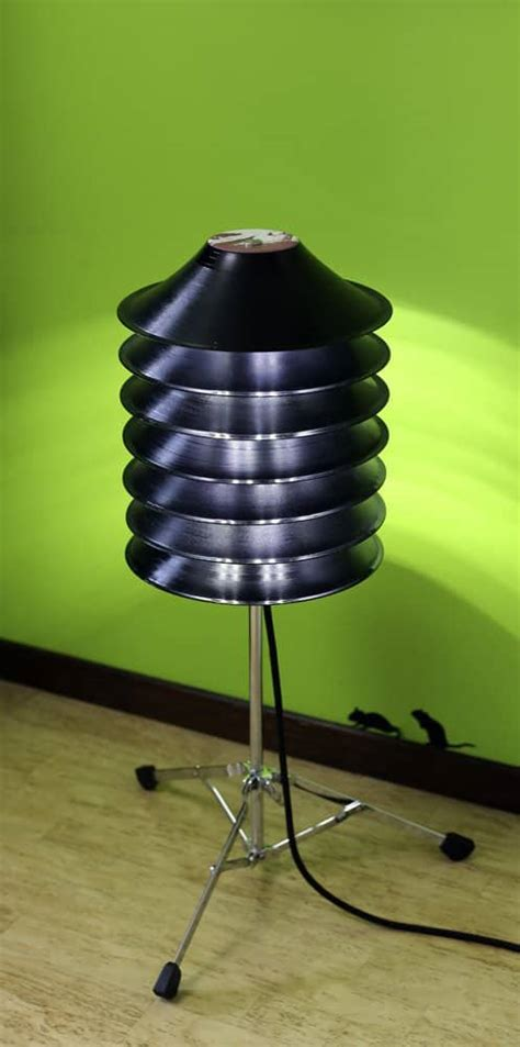 floor lamp  upcycled vinyl records  drum stand