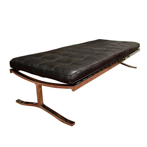 Black Leather Button Tufted Nicos Zographos Bench At 1stdibs