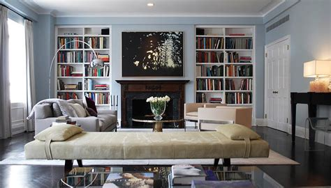 Living Room With Fireplace And Bookshelves by Modern Living Room Bookshelves Design Ideas With