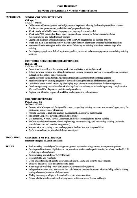 corporate trainer resume sles velvet jobs