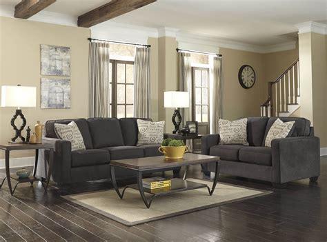 ashley alena charcoal sofa  loveseat living room sets