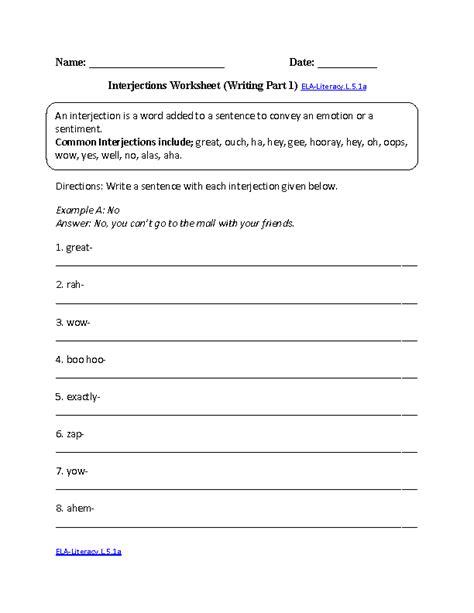 Interjections Worksheet 2 Elaliteracyl51a Language Worksheet  Cheerleading Pinterest