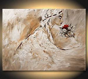 Painting - painting of woman smelling rose #6017