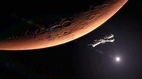 Spaceship Leaving Planet Mars Motion Background - Videoblocks