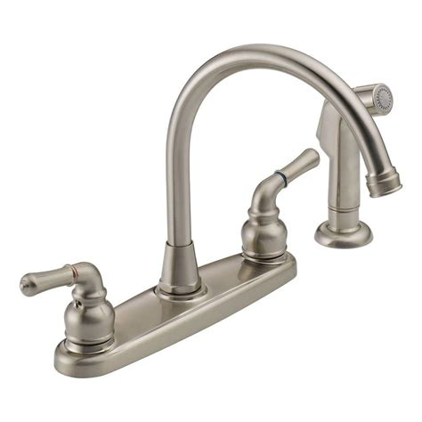 2 handle kitchen faucet peerless was01xns 2 handle side sprayer kitchen faucet in