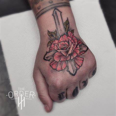 Neo Traditional Rose And Cross Tattoo  The Order The