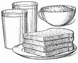 Breakfast Coloring Toast Glass Foods Cereal Juice Milk Bowl Orange sketch template