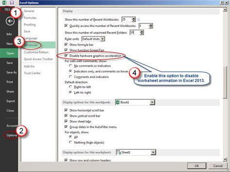 how to disable worksheet animation in excel 2013
