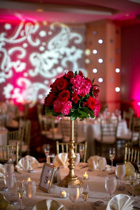 Red Rose And Pink Hydrangea Tall Centerpieces