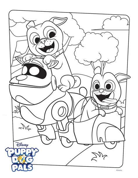puppy dog pals coloring page activity disney family