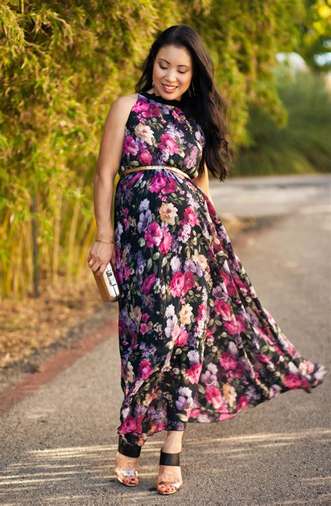 floral pleated maxi maternity fall wedding guest outfit