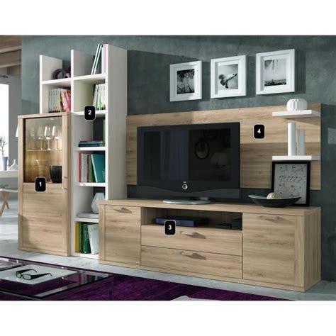ensemble bibliotheque et meuble tv kaiss chene clair polar 21850 achat vente meuble tv pas