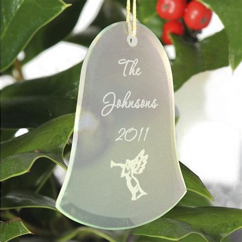 engraved bell shaped glass christmas tree ornament