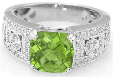 Cushion Cut Peridot Wide Band Engagement Ring With Milgrain Edging In 14k (gr-3110 Memory Lane Antiques West Des Moines In Sparks Nv Melbourne Cbd Antique Gillette Shaving Kit Best Places For Texas Military Dealers White Coffee Table Canada