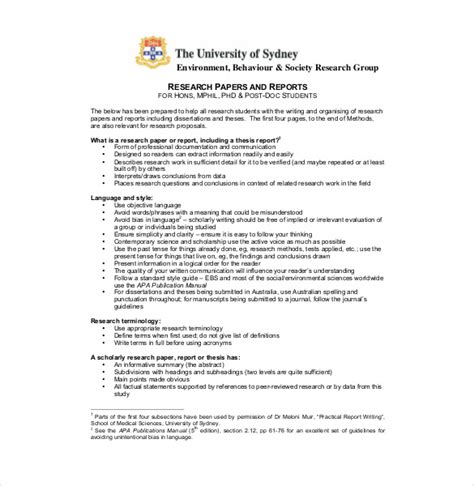 Research Paper Template Format For Personal Statement Research Paper