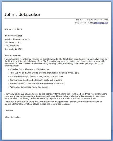 film internship cover letter examples creative resume