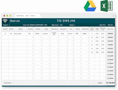 Shot Template Professional Excel Templates Film Production