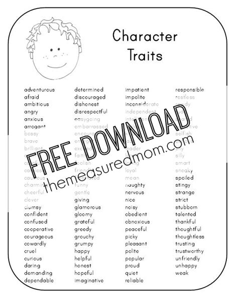 free character analysis worksheet for the measured