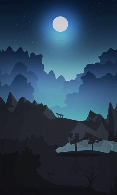 Sky Night Wolf Summer Animated Moon Hill