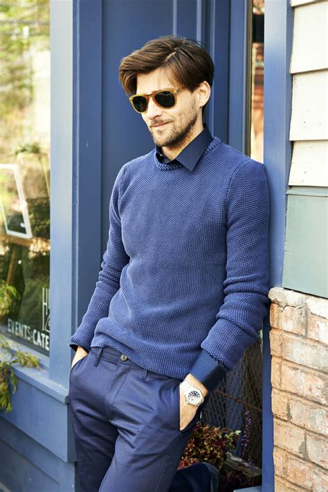 Menu0026#39;s Brown Sunglasses Blue Dress Pants Silver Watch Blue Crew-neck Sweater and Navy ...