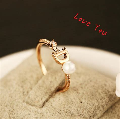 European Brand Ring Gold Plated Letter D Ring Fashion