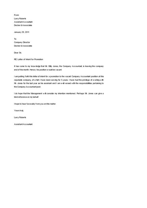 letter  intent job promotion   formally promote