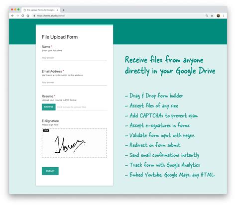 receive files   google drive  file upload forms
