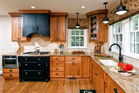 kitchens with oak cabinets golden oak cabinets kitchen traditional with black 7686