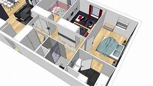alix delclaux architecte interieur animation plan 3d With plan maison avec appartement