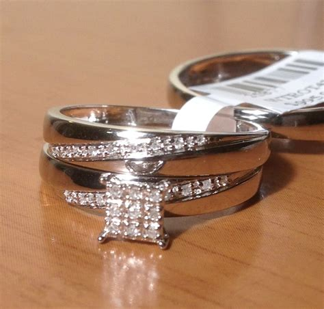 10k white gold his her mens woman diamonds wedding ring