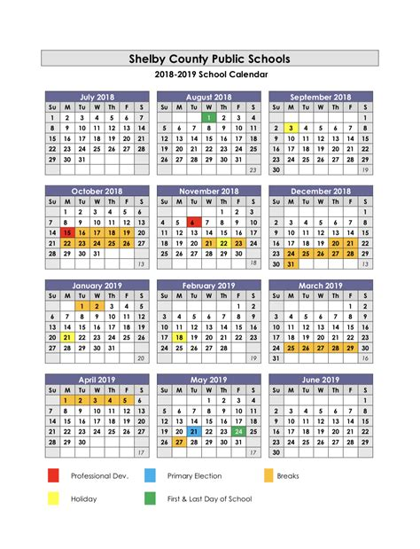 2018 2019 school calendar template collins high school calendar
